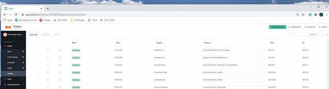 Dext prepare costs inbox workspace